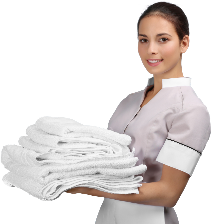 Maid with towels in hand
