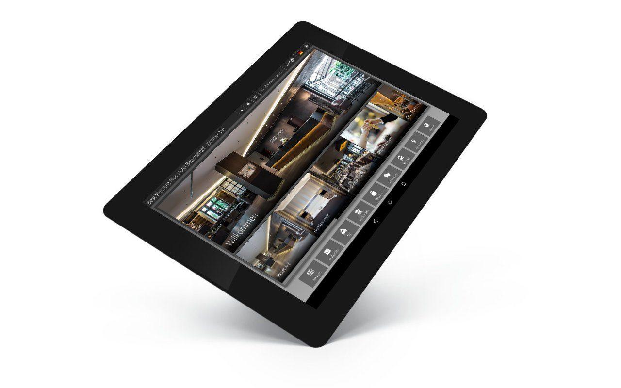 Digitale Gästemappe iQ Tab schräg mit dem Layout vom Hotel Böttcherhof