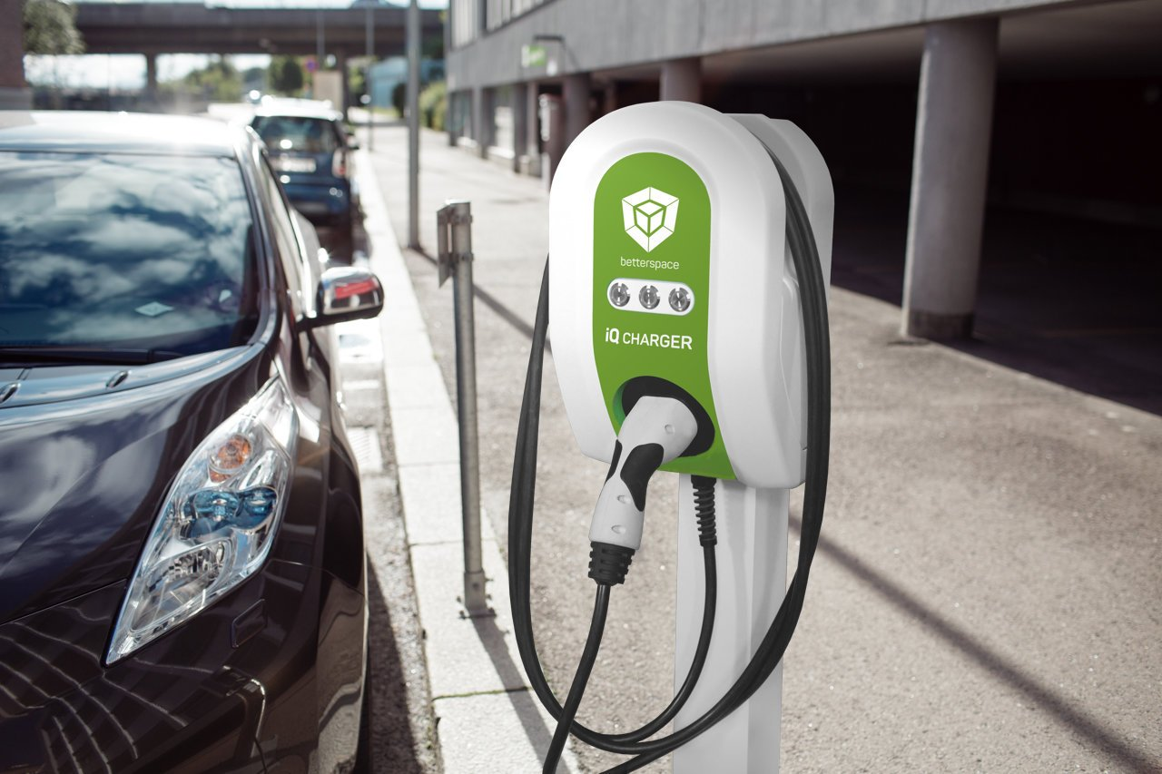 Charging station iQ Charger charges the electric car of a hotel guest