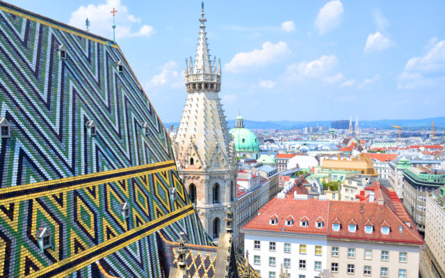 Stephansdom cathedral from its top in Vienna, Austria